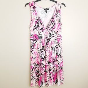Style & Co sleeveless dress pink cheetah floral 1X
